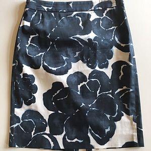 J. CREW Watercolor Stretch Pencil Skirt